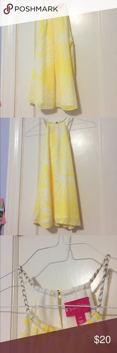 Lilly Pulitzer for target shirt Womens S Lilly Pulitzer for target shirt. Yellow and white print. Gold and white braided straps. Never worn. Lilly Pulitzer for Target Tops Tank Tops