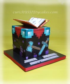 """Minecraft """"Enchantment table"""" birthday cake - For 2 brothers celebrating their birthdays in the same week. This was what the older brother wanted for his cake. I was not sure how I was going to pull it off but it worked out pretty good."""