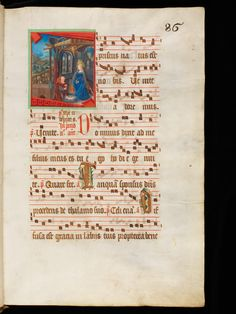 The birth of Jesus Christ. The Virgin Mary stay near his baby in a blue dress, in front of the ox. This illumination comes from a rich decorated antiphonary. Vevey, Music Manuscript, Illuminated Manuscript, Birth Of Jesus Christ, Book Of Kells, Christmas Scenes, 15th Century, Middle Ages, Virgin Mary