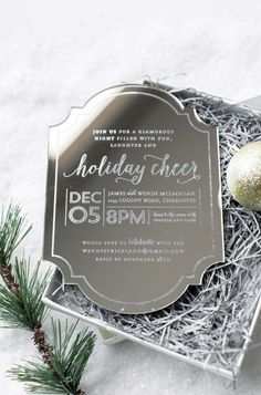 Awesome etched mirror invitation - Holiday Cheer Invitation