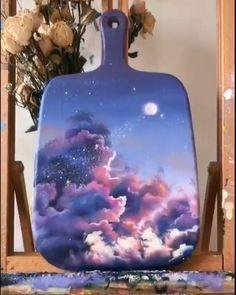 Galaxy Painting Acrylic, Acrylic Art, Acrylic Paint On Wood, Simple Canvas Paintings, Diy Canvas Art, Canvas Painting Tutorials, Diy Painting, Drawings, Link