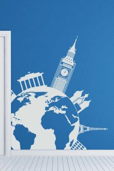 Europe Sights Over Planet Wall Sticker. Europe is a cultural hotspot and has some of the greatest landmarks in the entire planet. Let your walls hold all the flavors that Europe has to offer with this incredibly modern depiction through wall decals & stickers which have Europe masterpieces shown standing above the planet. http://walliv.com/europe-sights-over-planet-wall-sticker-art-decal