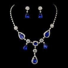 Silver & Royal Blue Stone Necklace Set | Wedding Jewellery | Bridal Accessories | Weddings - How Divine