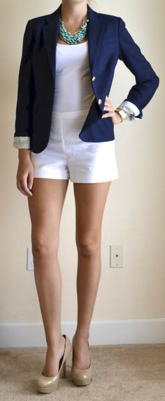 outfit post: white shorts, navy blazer, teal necklace