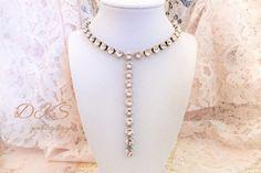 NEW, Blush, Swarovski Crystal Drop Necklace, Bridal, Prom, Formal, 8mm,  Popular, Modern, Trending, DKSjewelrydesigns, FREE SHIPPING