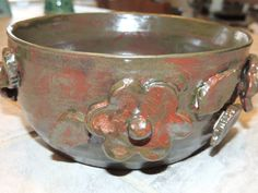 Mothers day! Hand thrown pottery bowl.  This is a one of a kind bowl with raised flowers added.  Red/ silver glaze.  food safe, hand wash by GabiLuBoutique on Etsy