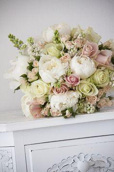 Bridal bouquet roses peonies lisianthus