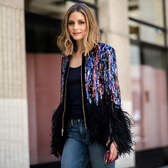 Olivia Palermo Sequins at Elie Saab