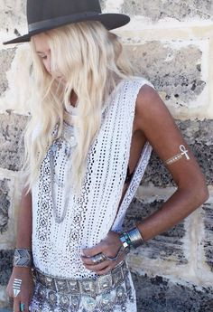 Boho Chic Trend Boutique White Nightcap Modern Hippie Crochet Fringe Cover Up  Layered Jewelry. For the BEST Bohemian fashion trends FOLLOW http://www.pinterest.com/happygolicky/the-best-boho-chic-fashion-bohemian-jewelry-gypsy-/ now