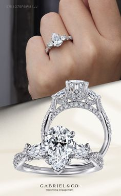 The horizontally set pear side stones will expand the reach of your coordinating center stone, while pavé diamonds lend subtle shimmer to the upper shank and gallery. ER14075P6W84JJ#GabrielNY #UniqueJewelry #EngagementRings #PearShapedEngagementRing #WhiteGoldEngagementRings Engagement Ring For Her, Pear Shaped Engagement Rings, Engagement Ring Shapes, Halo Diamond Engagement Ring, Pear Shaped Diamond, Diamond Cuts, Gabriel Jewelry, Rings For Her, Vintage Jewelry