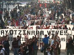 A protest by Mexican people demanding justice in finding Los 43. 2014.