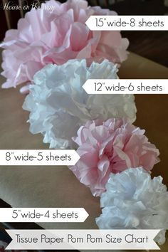 This tissue paper pom-poms are easy to make with this chart that tells you the size tissue paper you need and how many sheets for each size pom-pom.