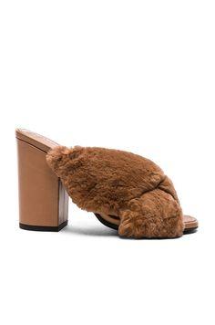 1e034090c6b ALUMNAE Rabbit Fur X Slide Block Heels.  alumnae  shoes