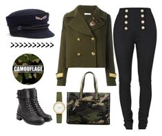 """Military fashion"" by valenciamelis ❤ liked on Polyvore featuring Skagen, P.A.R.O.S.H., Philosophy di Lorenzo Serafini, Balmain and Valentino"