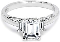 Tacori Diamond Baguette Engagement Ring : Two vertically set tapered baguettes are featured in this beautiful handmade Tacori engagement ring setting # 2591. The band also contains small round diamond pave accents.