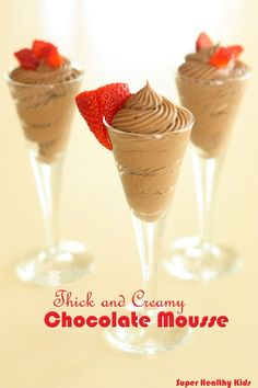 Thick and creamy chocolate mousse!  A healthy treat for kids and parents! From Super healthy kids  #nocookmeals #healthydessert