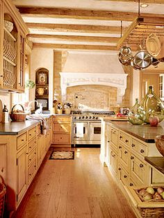 Rustic French Country Kitchen design ideas and decor ~ love the island and pot rack