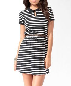 Collared Striped Dress w/ Belt (Black/Cream). Forever 21. $16.90