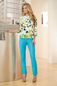 Fun print and colorful pant make this an easy, spring look! Get awesome discounts up to 30% Off at Stein Mart using Mother's Day Promo Codes.