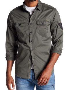 d18caf8af Howe NEW Green Mens Size Medium M Button Down Flap-Pocket Solid Shirt #455
