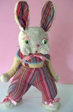 Cutest Dressed Bunny!  Vintage RUSHTON STAR CREATION Character Rayon Plush Dressed Rabbit