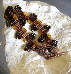 Ribbon Bracelet Root Beer Beads Delica and by desertshinejewelry, $35.00