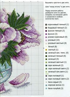 This Pin was discovered by анн Cross Stitch Rose, Cross Stitch Flowers, Cross Stitch Charts, Cross Stitch Designs, Cross Stitch Patterns, Cross Stitching, Cross Stitch Embroidery, Lace Knitting Stitches, Flowers In Jars