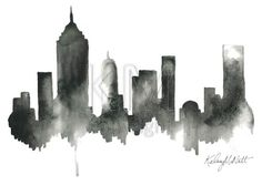 Black artwork of NYC New York City Skyline Print by KelseyMDesigns, $25.00. I want a different city though.                                                                                                                                                                                 More