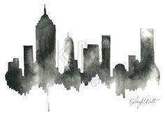 Black artwork of NYC, New York City Skyline, Print from Original Watercolor Painting, Home Decor, Kitchen art, Modern wall artwork,