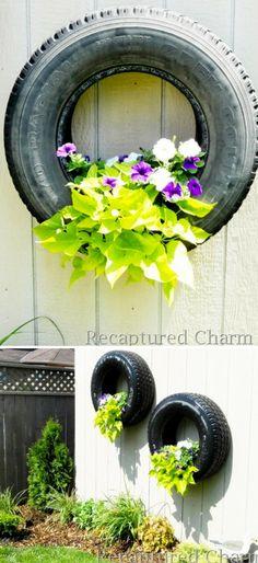 Tire Planter Designs Easy Instructions Lots Of Ideas Tire Planters, Garden Planters, Tire Garden, Lawn And Garden, Recycled Garden Art, Garden Projects, Garden Ideas, Diy Projects, Plant Care