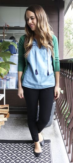 Jules in Flats October Outfits - Old Navy Chambray Top, Pixie Ankle Pants and Zara Cardigan