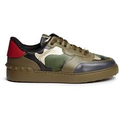 Valentino Camouflage print leather canvas sneakers (€860) ❤ liked on Polyvore featuring shoes, sneakers, green, green leather shoes, green sneakers, leather low top sneakers, camo shoes and camouflage sneakers