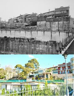 View from Bayview St Bridge towards Mill St and on Ways Tce_1937 (City of Sydney) vs July 2015 (Pyrmonstrosity)