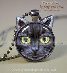 Vampire CAT NECKLACE, Vampire Black Cat pendant // Halloween necklace resin pendant // black cat jewelry // Black Cat Vampire // Undead by JeffHaynieArt on Etsy Cat Jewelry, Animal Jewelry, Jewelry Art, Jewellery, Grey Tabby Cats, Blue Cats, Cat Lover Gifts, Cat Gifts, Mardi Gras