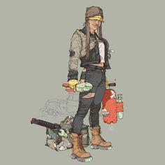 ArtStation - Post Apocalyptic Character designs, by Calum Watt Apocalypse Character, Apocalypse Art, Character Concept, Concept Art, Manga Anime, Battle City, Cyberpunk 2020, Cyberpunk Fashion, Fallout New Vegas
