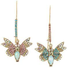 Betsey Johnson Buzz Off Butterfly Hook Earrings ($45) ❤ liked on Polyvore featuring jewelry, earrings, multi, antique gold jewellery, pave jewelry, monarch butterfly earrings, gold colored earrings and colorful earrings