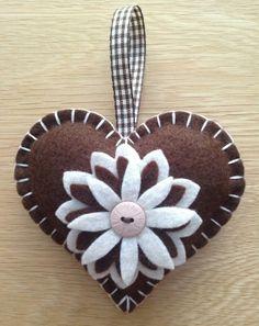 Brown & Beige Felt Heart