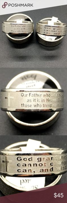 "New 2PCs Prayer Stainless Steel Etching Rings Material: Stainless Steel Qty: 2pcs Size: approx 18/USA: 8 content 1 Our Father who art in Heaven,Hallowed be thy name,thy Kingdom come,thy will be done, on earth as it is in Heaven.Give us this day our daily bread,and forgive our trespasses, as we forgive those who trespasses against us,and lead us not into temptation,but deliver us from evil. Amen!"" ""God grant me the serenity to accept the things I cannot change, courage to change the things I…"