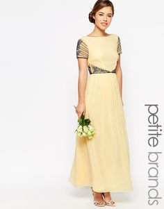Maya+Petite+Cap+Sleeve+Maxi+Dress+With+Embellished+Waist+Detail