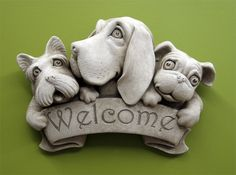 Triple Dog Welcome Plaque - Carruth Studio