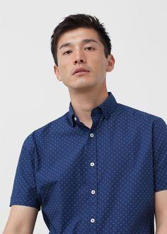 Camisa regular-fit algodón estampada - Camisas de Hombre | MANGO Man México