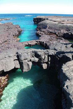 Bridges over sea, Santiago Island, Galapagos, Ecuador.