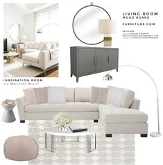 LIVING ROOM MOOD BOARD FEATURING FURNITURE.COM