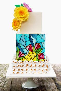 Be Unique With Stained Glass Wedding Cakes ❤ See more: http://www.weddingforward.com/stained-glass-wedding-cakes/ #wedding #cakes