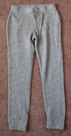 Girl's GAP KIDS Solid Gray Sweatpants Rhinestone Embellished Elastic 10 Large #GapKids #AthleticSweatPants #Everyday
