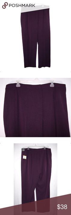 KASPER Purple (Kate) Lined Dress Pants PRICE FIRM Classic Fit, elastic on sides of waistband, sits at waist, relaxed through hips, straight legs, fully lined, fabric is 97% polyester, 3% spandex, lining is 100% polyester. Dry Clean Only. Measurements: Waist-46 to 51 (stretched) Rise-14, Hips-62, Inseam-30. NWT *Price Firm* Kasper Pants Straight Leg