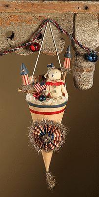 Americana Cone 4th Of July Decor Bear Bethany Lowe Vickie Smyers New #USA, #