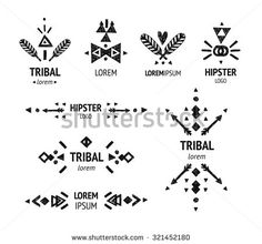 Set of abstract logo with tribal, ethnic, geometric elements. Hipster logo, business label, navajo style isolated on white background