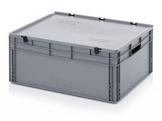 130 Litre Lidded European Standard Plastic Container - Stackable Straight Sided Storage Box
