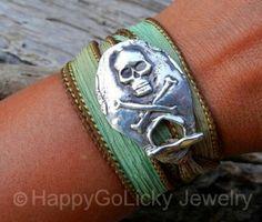 Cross bones ribbon bracelet